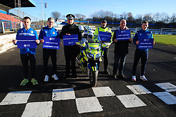 Fife Division, Roads Policing Festive launch, Central Park, Cowdenbeath, 29-11-2019<br /> <br /> Players Chris Hamilton and Connor Smith, Chief Superintendent Derek McEwan, PC Seb Milne, Cowdenbeath Director Tom Ewing and player Kyle Sneddon<br /> <br /> (c) David Wardle | Edinburgh Elite media