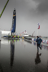 Artemis Racing launching the boat during heavy rain before the ACWS Gothenburg. Artemis Racing. 27th of August, 2015, Gothenburg, Sweden