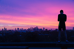London, January 02 2018. Day breaks over London's skyline, seen from Primrose Hill, as millions of the city's inhabitants return to work after the festive period. © SWNS