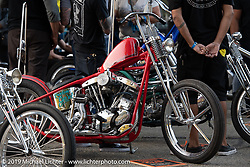 Canadian invited builder Shamus Mathers custom 1939 Harley-Davidson ULH Flathead at the Stampede pre-Born Free gathering and races in the City of Industry, CA, USA. Thursday, June 20, 2019. Photography ©2019 Michael Lichter.