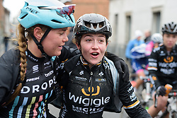 Grace Garner and Abby Mae Parkinson catch up at the 112.8 km Le Samyn des Dames on March 1st 2017, from Quaregnon to Dour, Belgium. (Photo by Sean Robinson/Velofocus)