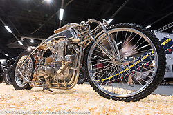 Top Bike! 29-year old Dima Golubchikov of Zillers Garage in Moscow built this amazing 500 cc Jawa with a BSA Transmission that took first place in the Custom and Tuning Show in Moscow, Russia. Friday April 21, 2017. Photography ©2017 Michael Lichter.