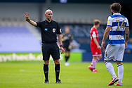 Referee Andy Davies pointing, directing, signalling during the EFL Sky Bet Championship match between Queens Park Rangers and Barnsley at the Kiyan Prince Foundation Stadium, London, England on 20 June 2020.