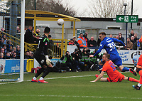 Football - 2018 / 2019 Emirates FA Cup - Fifth Round: AFC Wimbledon vs. Millwall<br /> <br /> Joe Pigott of Wimbledon hits the post with his header past the stranded Jordan Archer, at the Cherry Red Records Stadium (Kingsmeadow).<br /> <br /> COLORSPORT/ANDREW COWIE