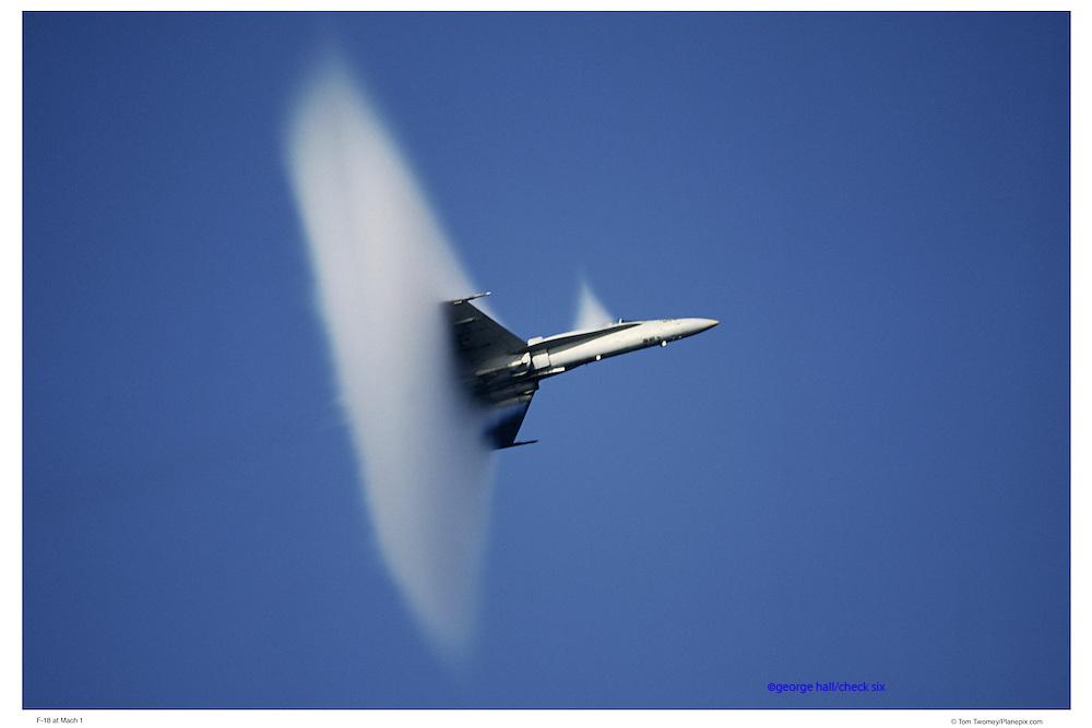F-18 at Mach I, aerial