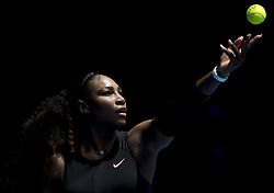 Jan. 17, 2017  - Melbourne, Australia - SERENA WILLIAMS of the United States serves during the women's singles first-round match against B. Bencic of Switzerland at the Australian Open Tennis Championships in Melbourne, Australia. Williams won 2-0. (Credit Image: © Xinhua via ZUMA Wire)