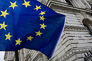 As the EU's Chief negotiator Michel Barnier meets Theresa May in London to discuss the next stage of Brexit, the stars of the EU flag belonging to to anti-Brexiter flies in Whitehall and the corner of Downing Street, the official residence of the Prime Minister, on 5th February 2018, in London England.