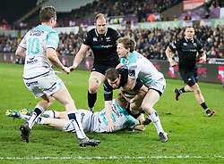 Ospreys' Dan Biggar is tackled just short of the line<br /> <br /> Photographer Simon King/Replay Images<br /> <br /> Guinness PRO14 Round 19 - Ospreys v Connacht - Friday 6th April 2018 - Liberty Stadium - Swansea<br /> <br /> World Copyright © Replay Images . All rights reserved. info@replayimages.co.uk - http://replayimages.co.uk