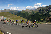 France - Tuesday, Jul 22 2008: AG2R La Mondiale's Cyril Dessel (Fra) and Francaise des Jeux's Sandy Casar lead a group of nine riders up the climb of the Col de Restefond during Stage 16 (Cuneo to Jausiers) of the 2008 Tour de France cycle race. Dessel would go on to win the stage that finished in Jausiers. (Photo by Peter Horrell / http://www.peterhorrell.com)