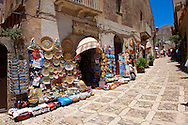 Tourist shops and Sicilian pottery Érice, Erice, Sicily stock photos. .<br /> <br /> Visit our SICILY PHOTO COLLECTIONS for more   photos  to download or buy as prints https://funkystock.photoshelter.com/gallery-collection/2b-Pictures-Images-of-Sicily-Photos-of-Sicilian-Historic-Landmark-Sites/C0000qAkj8TXCzro<br /> <br /> <br /> Visit our MEDIEVAL PHOTO COLLECTIONS for more   photos  to download or buy as prints https://funkystock.photoshelter.com/gallery-collection/Medieval-Middle-Ages-Historic-Places-Arcaeological-Sites-Pictures-Images-of/C0000B5ZA54_WD0s