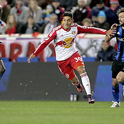 HARRISON, NEW JERSEY- November 06:  Gonzalo Veron #30 of New York Red Bulls is challenged by Marco Donadel #33 of Montreal Impact during the New York Red Bulls Vs Montreal Impact MLS playoff match at Red Bull Arena, Harrison, New Jersey on November 06, 2016 in Harrison, New Jersey. (Photo by Tim Clayton/Corbis via Getty Images)