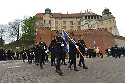 May 3, 2019 - Krakow, Poland - Hundreds take part of the patriotic march from Wawel Hill trough Krakow's Old Town on Polish Constitution Day. The Constitution of 3 May, 1791, was the world's second-oldest codified national constitution, but remained in force only for less than 19 months. By 1795, the Second and Third Partitions of Poland ended the existence of the sovereign Polish state. Over the next 123 years, the Constitution of 3 May was seen as proof of successful internal reform and as a symbol promising the eventual restoration of Poland's sovereignty. In April 1919 under the Second Polish Republic, May 3rd was the first holiday officially introduced in the newly independent Poland, but again outlawed during World War II by both the Nazi and Soviet occupiers, and finaly restored as an official Polish holiday in April 1990 after the fall of communism..On Friday, May 5, 2019, in Krakow, Poland. (Credit Image: © Artur Widak/NurPhoto via ZUMA Press)