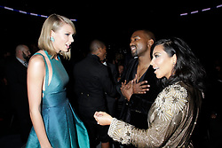 Taylor Swift, Kanye West and Kim Kardashian during the 57th annual Grammy Awards at the Staples Center in Los Angeles on February 8, 2015. Francis Specker/CBS /Landov