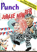 (Queen Elizabeth II and Prince Phillip dressed as a pearly queen and king for the Silver Jubilee celebrations) Punch, front cover, 6 April 1977.