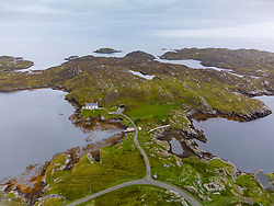 Aerial view from drone of settlement at Manish on The Bays on East coast of Isle of Harris, Outer Hebrides, Scotland, UK