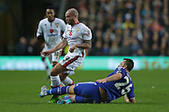 John Terry, the Chelsea captain tackles Samir Carruthers of MK Dons. The Emirates FA cup, 4th round match, MK Dons v Chelsea at the Stadium MK in Milton Keynes on Sunday 31st January 2016.<br /> pic by John Patrick Fletcher, Andrew Orchard sports photography.