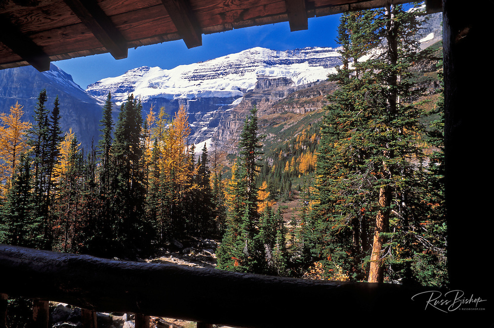 Mount Victoria from the Plain of Six Glaciers tea house above Lake Louise, Banff National Park, Alberta, Canada.