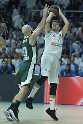 April 25, 2018 - Madrid, Madrid, Spain - LUKA DONCIC  of Real Madrid during the Turkish Airlines Euroleague play-off quarter final series third match between Real Madrid and Panathinaikos Superfoods at the Wizink Center in Madrid, Spain on April 25, 2018  (Credit Image: © Oscar Gonzalez/NurPhoto via ZUMA Press)