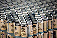 Stacks of empty beer cans wait to move to an automated canning system. The system cans 75 cases of beer per hour. Located in Baton Rouge, Tin Roof Brewing Company brews custom, handcrafted beers including Tin Roof Blonde Ale, Perfect Tin Amber Ale and Voodoo Bengal Pale Ale.