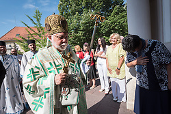 """3 June 2018, Novi Sad, Serbia: Metropolitan Stephanos of Tallinn and All Estonia leads Sunday service in the Eastern Orthodox Cathedral Church of the Holy Great Martyr George. On 31 May - 6 June 2018, in Novi Sad, Serbia, the Serbian Orthodox Church stood as one of the host churches of the Conference of European Churches General Assembly. More than 400 delegates, advisors, stewards, youth, staff, and distinguished guests took part in the Assembly and related events, gathered under the theme, """"You shall be my witnesses""""."""