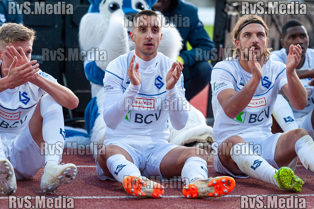 LAUSANNE, SWITZERLAND - NOVEMBER 10: #17 Joao Oliveira of FC Lausanne-Sport celebrates tea victory after the Challenge League game between FC Lausanne-Sport and FC Schaffhausen at Stade Olympique de la Pontaise on November 10, 2019 in Lausanne, Switzerland. (Photo by Monika Majer/RvS.Media)
