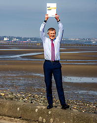 Pictured: <br />Scottish Liberal Democrat Leader Willie Rennie launched his party's manifesto today during a vist to the Broadwalk Cafe in Edinburgh today.<br />Ger Harley | EEm 16 April 2021