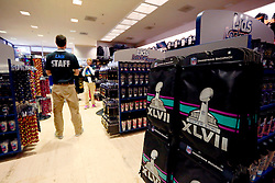 31 Jan 2013. New Orleans, Louisiana USA. .NFL branded merchandise fills Lids Locker Room store. The store is just a stone's throw from the Mercedes Benz Superdome, home of the New Orleans Saints playing host to the XLVII (47th) Annual Super Bowl with the Baltimore Ravens against the San Francisco 49'ers. With just days to go, NFL branding has taken over downtown as the big game comes to town..Photo; Charlie Varley