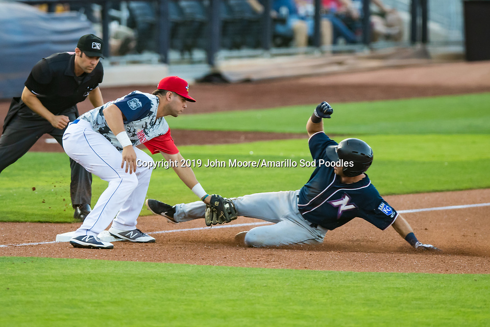 Amarillo Sod Poodles infielder Hudson Potts (10) tags out a runner against the Northwest Arkansas Travelers on Monday, July 22, 2019, at HODGETOWN in Amarillo, Texas. [Photo by John Moore/Amarillo Sod Poodles]