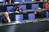 """25 MAR 2020, BERLIN/GERMANY:<br /> Peter Altmaier (L), CDU, Bundeswirtschaftsminister, Jens Spahn (M), CDU, Bundesgesundheitsminister, und Olaf Scholz (R), SPD, Bundesfinanzminister, im Gespraech. Um das Abstandsgebot zu beachten, ist nur jder dritte Platz in den Abgeordnentenreihen besetzt, Bundestagsdebatte zu """"COVID 19 - Kreditobergrenzen, Nachtragshaushalt, Wirtschaftsfonds"""", Plenum, Reichstagsgebaeude, Deutscher Bundestag<br /> IMAGE: 20200325-01-020<br /> KEYWORDS: Pandemie, Corona, Sitzung, Debatte, Gespräch"""