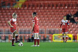 Bristol Academy Womens' Nikki Watts  and Bristol Academy Womens' Natalia Pablos Sanchon cut dejected figures as FC Barcelona's Jennifer Hermoso scores a goal to make it 0 - 1 - Photo mandatory by-line: Dougie Allward/JMP - Mobile: 07966 386802 - 13/11/2014 - SPORT - Football - Bristol - Ashton Gate - Bristol Academy Womens FC v FC Barcelona - Women's Champions League