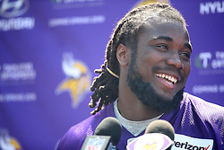 May 5, 2017 - Eden Prairie, MN, USA - United States - Former Florida State running back Dalvin Cook was all smile during a press conference during the first day of Vikings rookie minicamp at Winter Park, Friday, May 5, 2017 in Eden Prairie, MN.  ]  ELIZABETH FLORES • liz.flores@startribune.com (Credit Image: © Elizabeth Flores/Minneapolis Star Tribune via ZUMA Wire)