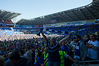 Football - 2017 / 2018 Sky Bet Championship - Cardiff City vs. Reading<br /> <br /> View of pitch with covered by Cardiff City fans after they invade the rich to celebrate promotion to the Premier League, at Cardiff City Stadium.<br /> <br /> COLORSPORT/WINSTON BYNORTH