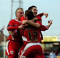 Photo: Jed Wee.<br />Hartlepool United v Bristol City. Coca Cola League 1. 15/04/2006.<br /><br />Bristol City's Dave Cotterill (L) and Bradley Orr (R) celebrate with goalscorer Alex Russell.