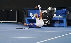 MELBOURNE, Jan. 17, 2019  Novak Djokovic of Serbia falls down during the men's singles second round match against Jo-Wilfried Tsonga of France at the Australian Open in Melbourne, Australia, Jan. 17, 2019. (Credit Image: © Bai Xuefei/Xinhua via ZUMA Wire)