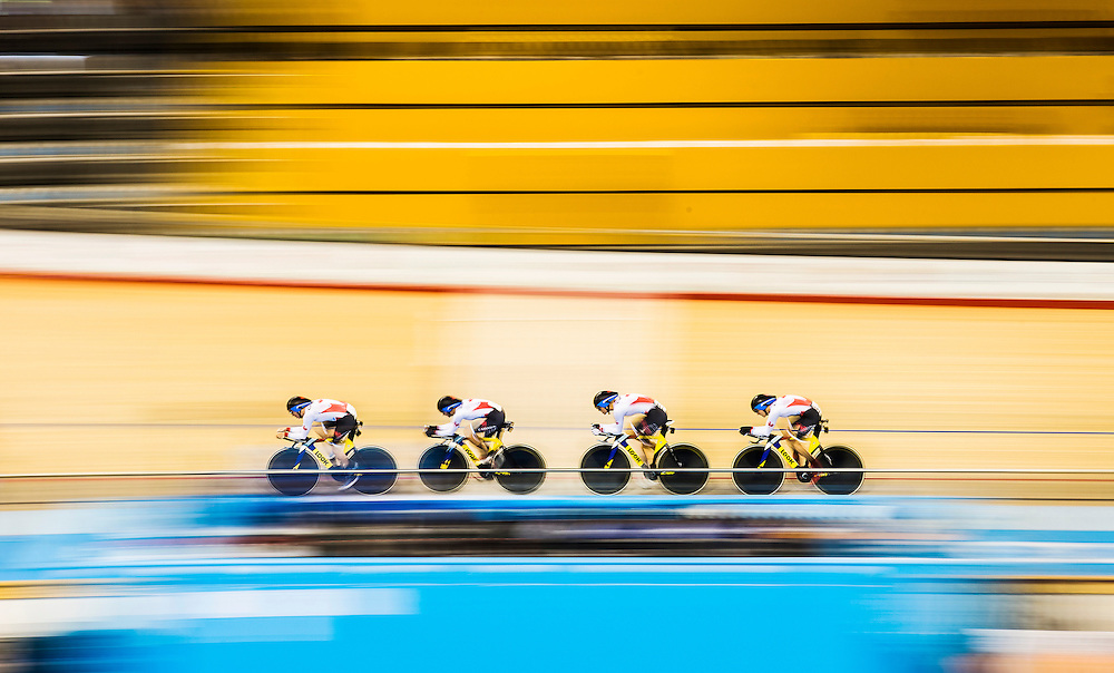 Canada's Jasmin Glaesser, Allison Beveridge, Laura Brown, and Kirsti Lay compete during the track cycling women's team pursuit qualification at the Pan Am Games in Milton, Thursday July 16, 2015.    THE CANADIAN PRESS/Mark Blinch