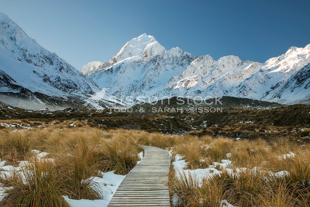 Aoraki Mt Cook from the Hooker Valley track boardwalk on a cloudless, frosty winter morning.