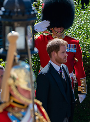 The Duke of Sussex outside St George's Chapel, Windsor Castle, Berkshire, ahead of the funeral of the Duke of Edinburgh. Picture date: Saturday April 17, 2021.