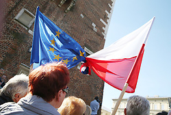 October 06, 2018 - Krakow, Poland - Polish and European Union flags seen tired together.