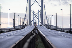 Pics of the closed Forth Road Bridge from the north, Fife side at North Queensferry