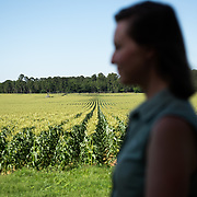 Profile of Casey Cox with field of sweet corn in the background, at Longleaf Ridge farm in Camilla, Georgia.