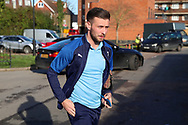 AFC Wimbledon defender Luke O'Neill (2) arriving for the game during the EFL Sky Bet League 1 match between AFC Wimbledon and Peterborough United at the Cherry Red Records Stadium, Kingston, England on 18 January 2020.