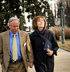 January 3, 2018 - Washington, District of Columbia, U.S. - Holding hands with her husband ARCHIE, Senator TINA SMITH  looked up at the U.S. Capitol building in the morning sun. Tina Smith is sworn in as Minnesota's junior U.S. senator, replacing Al Franken the day after he resigns. (Credit Image: © Glen Stubbe/Minneapolis Star Tribune via ZUMA Wire)