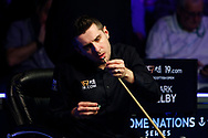 Mark Selby prepares his tip for the final session of the World Snooker 19.com Scottish Open Final Mark Selby vs Jack Lisowski at the Emirates Arena, Glasgow, Scotland on 15 December 2019.