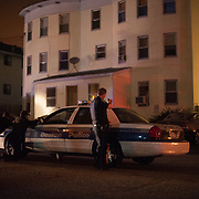 Police search for suspects in connection with the Marathon Bombings in Watertown, Mass on early Friday Morning.