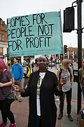 Anti Gentrification protest outside Lambeth Town Hall on 13th July 2015 in South London, United Kingdom. Cressingham Gardens is a council garden estate, located on the southern edge of Brockwell Park. It comprises of 306 dwellings and built to the design of Lambeth Borough Council architect Edward Hollamby in the early 1970s. In 2012, Lambeth Council proposed regeneration of the estate, a decision highly opposed by many residents. Since the announcement, the highly motivated campaign group Save Cressingham Gardens has been active.