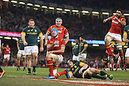 Justin Tipuric of Wales © celebrates after he scores his teams 2nd try. Under Armour 2016 series international rugby, Wales v South Africa at the Principality Stadium in Cardiff , South Wales on Saturday 26th November 2016. pic by Andrew Orchard, Andrew Orchard sports photography