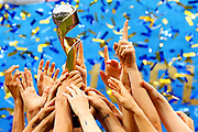 LYON, FRANCE - JULY 07: A detail of the Women's World Cup trophy being lifted by USA during the 2019 FIFA Women's World Cup France Final match between The United State of America and The Netherlands at Stade de Lyon on July 07, 2019 in Lyon, France. (Photo by Maddie Meyer - FIFA/FIFA via Getty Images)