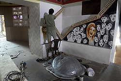 October 5, 2018 - Kolkata, West Bengal, India - Artisan busy to decorates interiors of pandal or temporary platforms ahead of Durga Puja festival. The annual five days festival begins on October 15 and worship Goddess Durga who symbolized power and the triumph of good over evil in Hindu mythology. (Credit Image: © Saikat Paul/Pacific Press via ZUMA Wire)