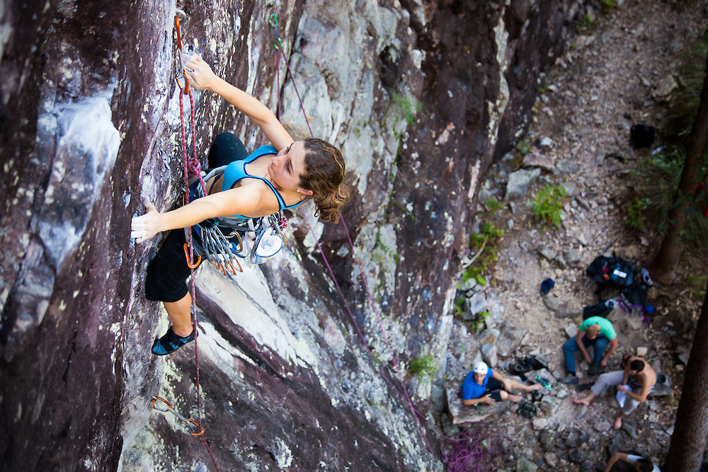 Clem climbing 'Green Room' at Paiges Pinnacle in the Gold Coast hinterland.