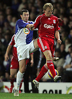Photo: Paul Thomas/Sportsbeat Images.<br /> Blackburn Rovers v Liverpool. The FA Barclays Premiership. 03/11/2007.<br /> <br /> Liverpool's Dirk Kuyt (R) battles with Brett Emerton of Blackburn.